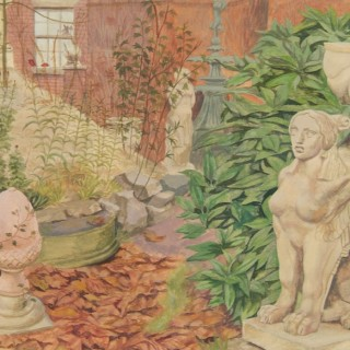 Josh Kirby - The Deserted Garden - watercolour