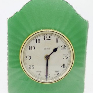 Enamel and Silver Clock.