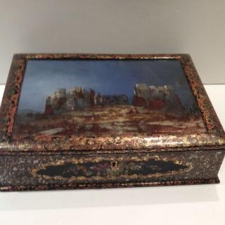 Kenilworth Castle Antique Papier Maché Writing Box.