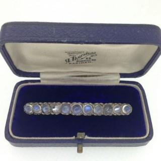 Antique Silver Moonstone Brooch.
