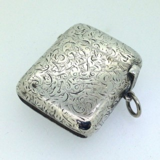 Antique Heavy Silver Vesta Case.