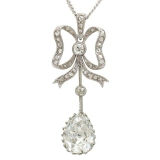 2.69ct Diamond and Platinum Pendant - Antique French Circa 1910