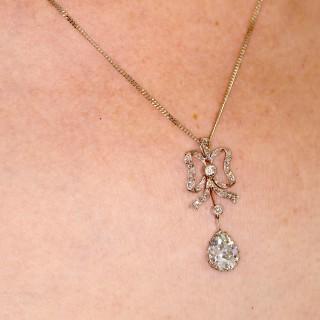 2.69ct Diamond and Platinum Pendant - Antique French Circa 1910