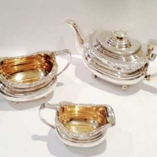 Antique Three Piece Silver Teaset.