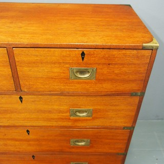 Victorian Teak Two Part Military Chest of Drawers