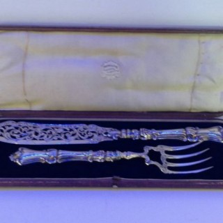 Antique Silver Fish Slice and Fork.