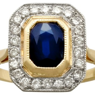 1.55 ct Sapphire and 0.72 ct Diamond, 18 ct Yellow Gold Cluster Ring - Circa 1950