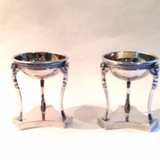Antique Pair of Silver  Plated Salts.