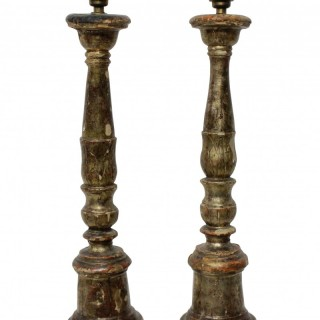 A PAIR OF 18TH CENTURY SILVER LEAF LAMPS
