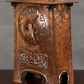 Arts and Crafts Hammered Copper Mantel Clock