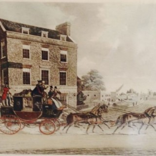Antique Print of the Quicksilver Royal Mail Coach.