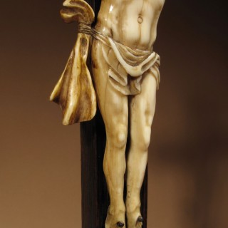 A Fine Ebony And Tortoiseshell Veneered Crucifix Applied With An Ivory Corpus Christi, Franco/Flemish First Half 18th Century.