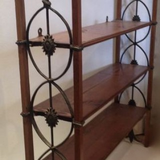 Nineteenth Century Pine and Pewter Wall Shelves.