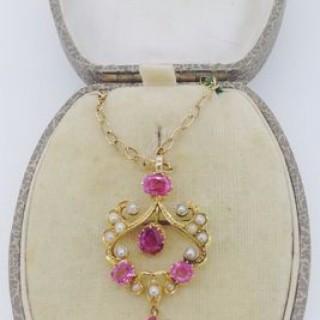 Pink Tourmaline Pendant /Brooch.
