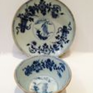 Two Antique Chinese Bowls and Saucers .