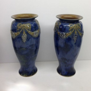 Pair Antique Tall Doulton Vases.