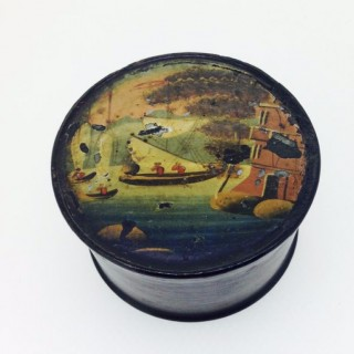Small Antique Papier Mâché Pin Box.