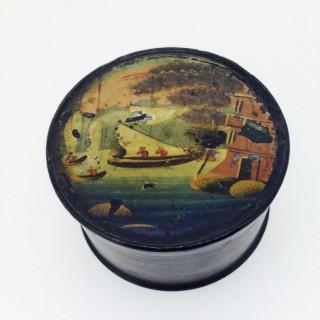 Small Antique Papier Mâché Pin Box.