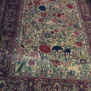 Antique Tree of Life Silk Rug.
