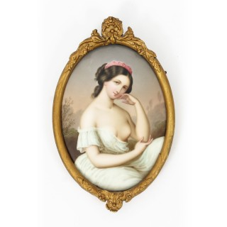 Antique Berlin KPM Plaque of a Young Girl Circa 1880 19th Century