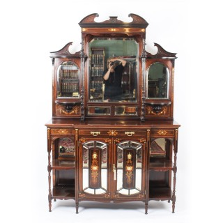 Antique Edwardian Inlaid & Mirrored Display Cabinet c.1890 19th Century