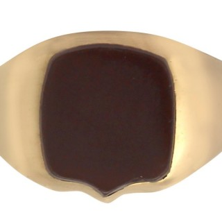Agate and 18 ct Yellow Gold Signet Ring - Antique Victorian