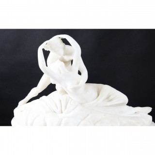 Antique Alabaster Lovers Sculpture & Pedestal after Canova 19th Century
