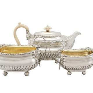 Sterling Silver Three Piece Tea Service by Paul Storr - Regency Style  - Antique George III (1813)