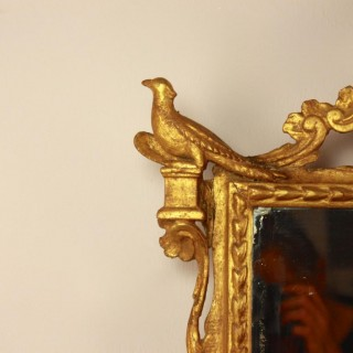 18th Century  Giltwood Wall Mirror with Pheasant Birds Decoration, Italy ca. 1750