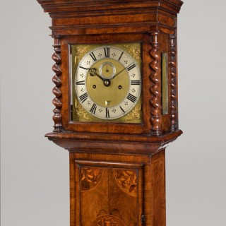 WILLIAM KNOTTESFORD LONDINI. A FINE JAMES II PERIOD WALNUT FLORAL MARQUETRY LONGCASE CLOCK.