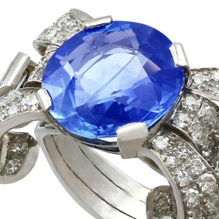 8.50ct Ceylon Sapphire and 1.95ct Diamond, Platinum Cocktail Ring - Antique Circa 1935