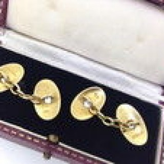 Antique Gold and Diamond  Cuff Links.