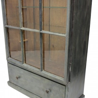 A LARGE FRENCH PAINTED & GLAZED CABINET