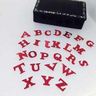 Antique Papier Mâché Box with Bone letters.