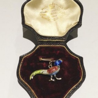 Antique Gold and Enamel Pheasant Brooch.
