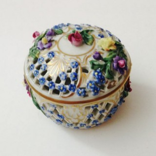 Small Vintage Dresden Pot and Cover.