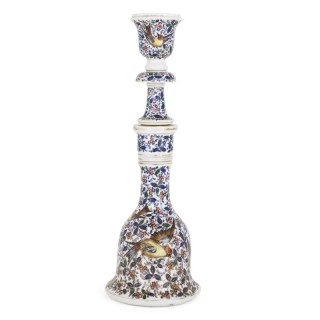 19th Century porcelain huqqa with bird paintings
