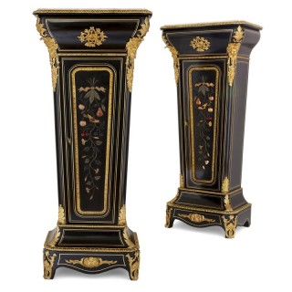 Two ebonised wood, gilt bronze and pietra dura pedestal cabinets