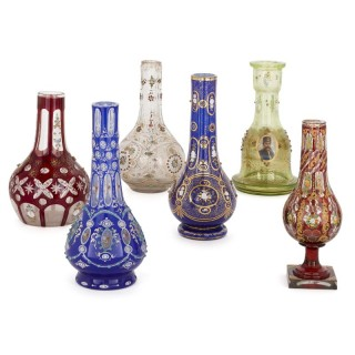 Set of six 19th Century Bohemian glass huqqa bases