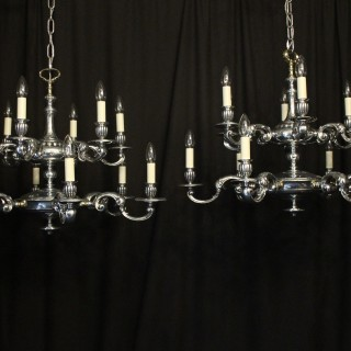 English Pair 12 Light Double Tiered Chandeliers