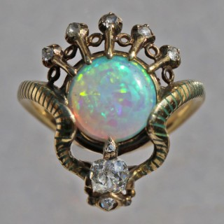 Art Nouveau Ouroborus Serpent Ring Attributed to Charles Rivaud