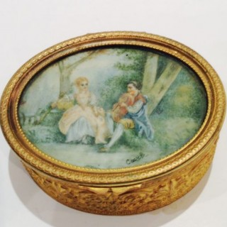 Antique French Gilt Miniature Box.