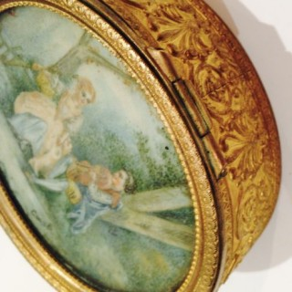 Antique French Gilt Miniature Box.