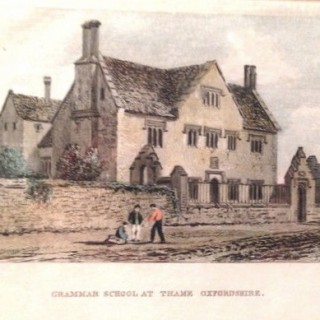 Antique Print of Thame Grammar School Oxon.