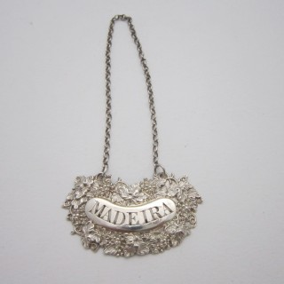 Antique William IV Sterling silver wine label