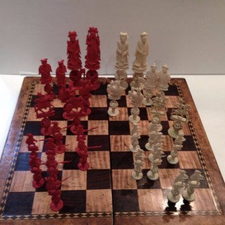 Antique Chess Board and Pieces.
