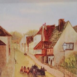 Lewes Sussex Antique Painted Large Porcelain Plaque.