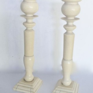 Antique Pair Tall Ivory Candlesticks