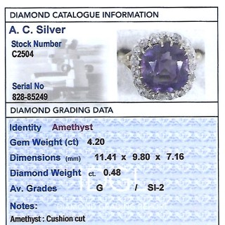 4.20ct Amethyst and 0.48ct Diamond, 18ct Yellow Gold Dress Ring - Antique Circa 1890