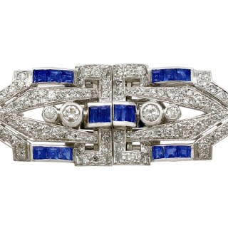 1.65ct Sapphire and 3.16ct Diamond, 18ct White Gold Double Clip Brooch - Antique Circa 1925
